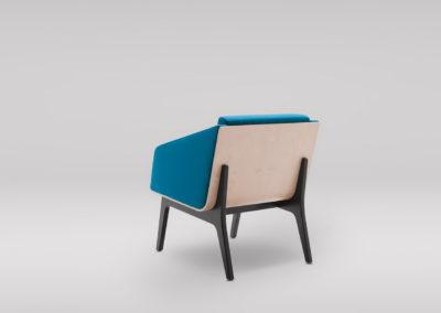 Fotel FIN z podłokietnikami _podstawa drewniana_tył