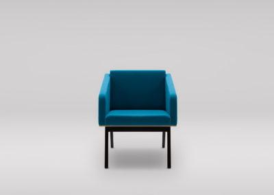 Fotel FIN z podłokietnikami_podstawa drewniana