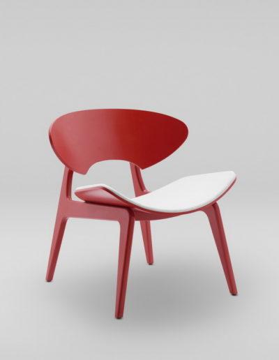 Fotel KANU 2 czerwony_tapicerowane siedzisko W02 P_skos