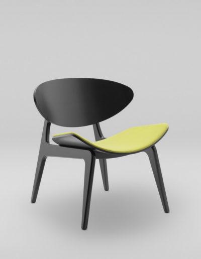 Fotel KANU 3 czarny_tapicerowane siedzisko W103_skos