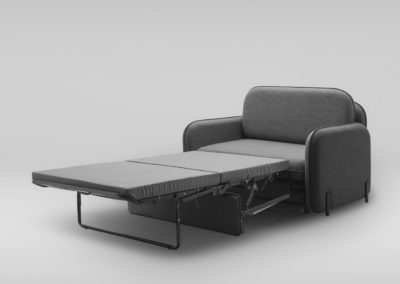 Fotel rozkladany CORBU_skos_MLF16_28_nozki czarne_rozlozona
